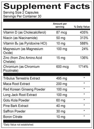vasostam ingredients supplement facts